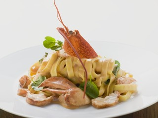 Ribbon pasta with lobster