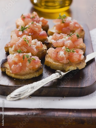 Bruschetta (toasted bread with tomatoes and garlic, Italy)