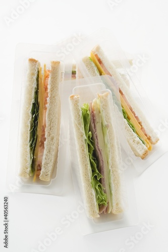 Sandwiches in packaging to take away
