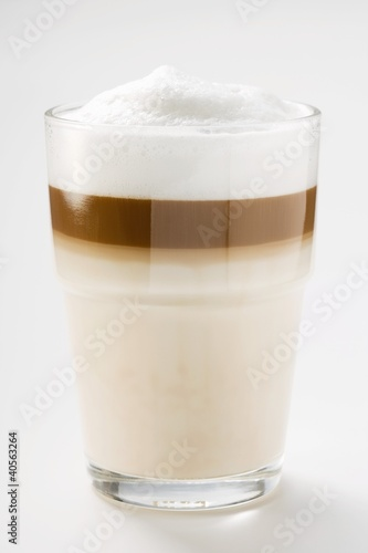 Latte macchiato in glass