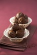 Coffee and whisky truffles in two small dishes