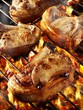 Pork chops on barbecue rack