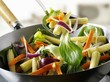 Vegetables and baby corn cobs in wok