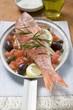 Fried red mullet on Mediterranean vegetables