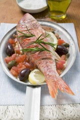 Fried red mullet on Mediterranean vegetables