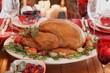 Christmas table with roast turkey (USA)