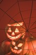 Pumpkin lanterns and cobweb (Halloween decorations)