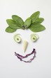Vegetable face with spinach hair