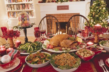 Turkey and all the trimmings on Christmas table (USA)