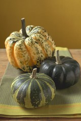 Three different pumpkins on cloth