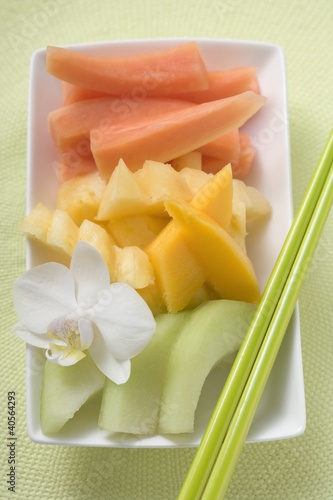 Exotic fruit and orchid (overhead view)