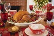 Roast turkey on Christmas table in front of fireplace