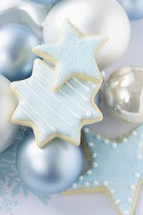 Iced star biscuits and Christmas tree baubles