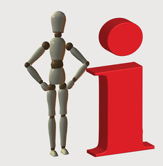 Information icon with mannequin standing