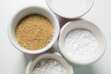 Four different types of sugar