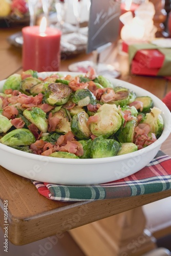 Brussels sprouts with bacon on Christmas table (USA)