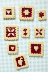 Nine square jam biscuits