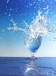 Water splashing out of glass