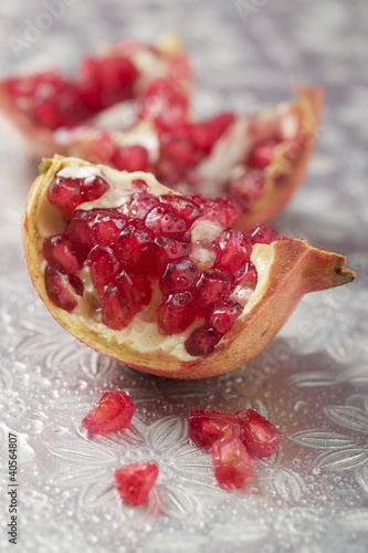 Several wedges of pomegranate