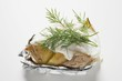 Baked potato with sour cream and dill