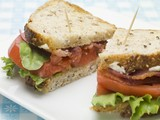 Bacon, lettuce and tomato sandwich, halved