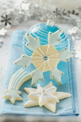 Christmas biscuits and blue Christmas bauble