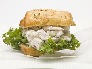 Chicken salad sandwich with red onion