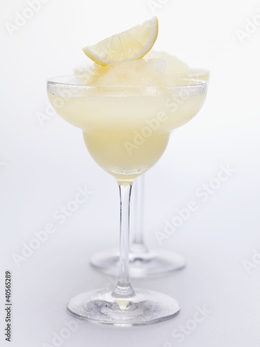 Two Frozen Lemon Margaritas