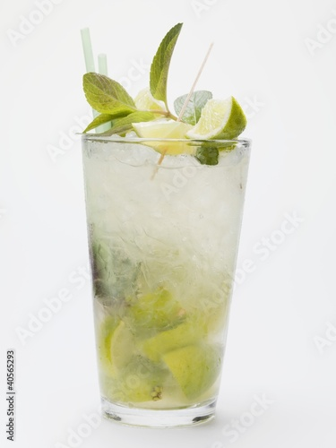 Mojito with lime, mint and crushed ice