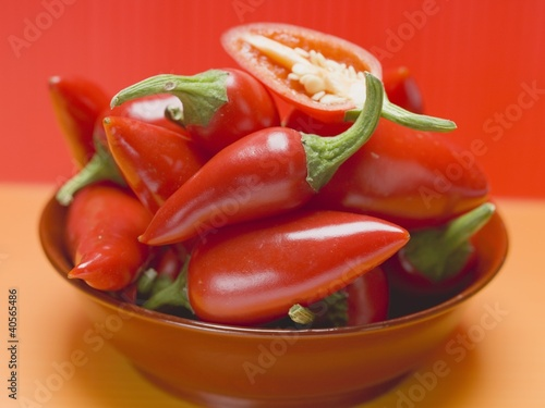 Red chillies in a red dish