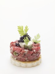 Tuna canapé with caviar