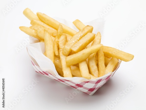 A portion of chips in a paper dish (fast food)