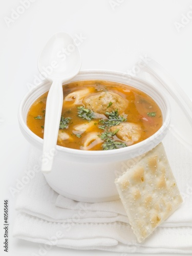 Goulash soup with small dumplings and cracker