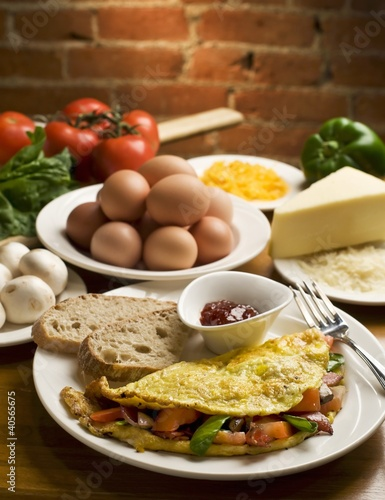 Vegetable Omelet with Sliced Artisan Bread; Ingredients