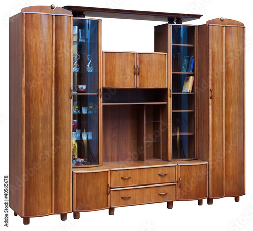 Wooden cupboard with glass doors. Isolated on white