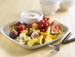 Plate of fruit with dip