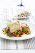Haddock fillet with peppers and rice