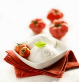 Mozzarella with cocktail tomatoes in a small dish