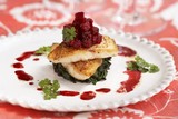 Beets on Roasted Cod and Spinach