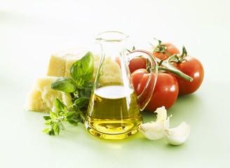 Olive oil, basil, tomatoes, Parmesan, garlic