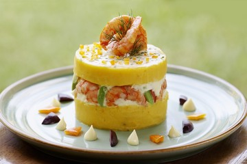 Causa (Mashed potato with shrimps and peppers, Peru)