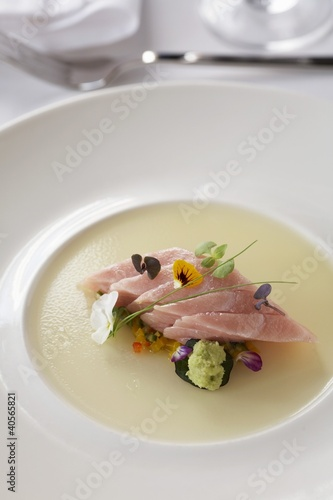 Tuna on Aspek with Edible Blossoms
