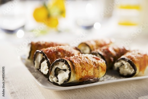 Eggplant and Ricotta Cheese Rolls on a Platter