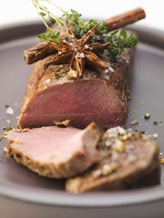 Loin of venison with herbs and spices