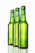 Three green bottles of beer
