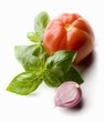 Tomato, basil and garlic clove