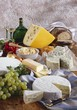 Bavarian cheese specialities with bread, grapes and wine