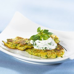 Courgette pancakes with soft cheese