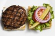 Toast with grilled burger and salad