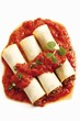 Cannelloni with mince filling and tomato sauce